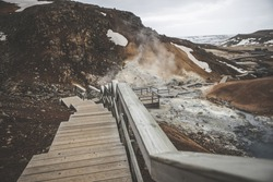 Krýsuvík Popular with hikers, this area features geothermal fields, hot springs & yellow, green & red soil.