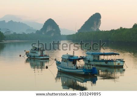Krabi landmark (Kanaab Nam Cliff), Krabi Town, Thailand.