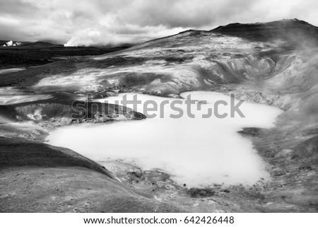 krafla volcano area in iceland. ...