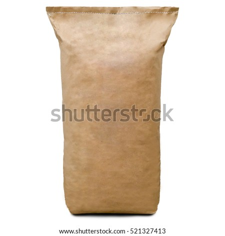 kraft bag or bag front view. isolated on white background. space for text #521327413