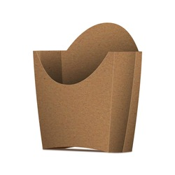 Kraft Paper French Fries Medium Size Packaging Box – Half Side View. Fast-food paper packaging box for french fries, fried potato chips, fried chicken and similar food.