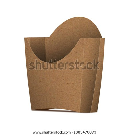 Photo of  Kraft Paper French Fries Medium Size Packaging Box – Half Side View. Fast-food paper packaging box for french fries, fried potato chips, fried chicken and similar food.