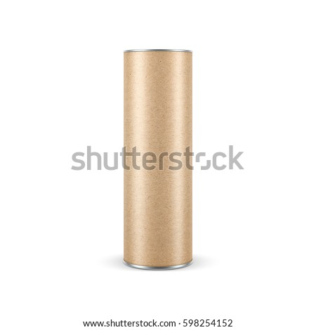 Kraft paper Snack Tube TIN CAN Mockup, Packaging, 3d rendering