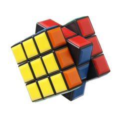 KRAGUJEVAC, SERBIA - DECEMBER 13, 2015: Rubik's 3x3x3 classic cube on a white background. Rubik's Cube invented by a Hungarian architect Erno Rubik in 1974.