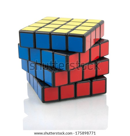 KRAGUJEVAC SERBIA FEBRUARY 8 2014 Rubik's 4x4 cube on the white background Rubik's Cube invented by a Hungarian architect Erno Rubik in 1974