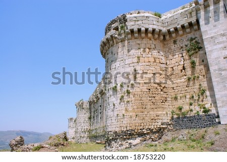 Krak des Chevaliers, citadel tower, fortification castle walls , crusaders fortress, Syria
