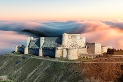 Krak des Chevaliers, Knights castle, Crosses, Syria, Middle East, Asia, Pre-war 2011, A Crusader fortress in Syria and one of the world's most important medieval castles preserved to this day.