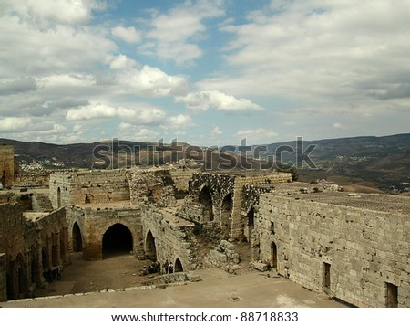 Krak des Chevaliers, or Crac des Chevaliers, a crusader castle in Syria, one of the most important preserved medieval military castles in the world. UNESCO World Heritage Site.