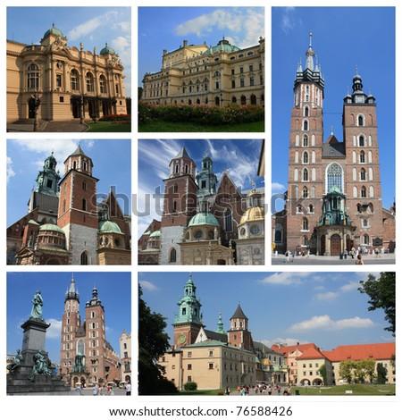 Krakow city collage