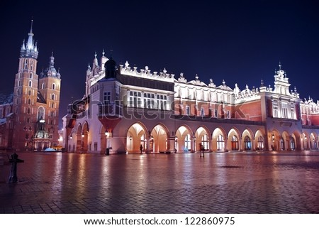 Krakow Medieval Main Square. Krakow (Cracow) Poland. Main Square at Night. St. Mary's Basilica and Sukiennice ( Cloth Hall ). Poland Photography Collection.