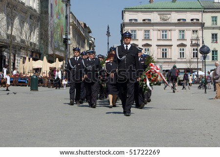KRAKOW, POLAND – APRIL 25: Funeral for Polish Major General Wlodzimierz Potasinski, commander of the country's special forces who was killed in a plane crash. April 25, 2010 in Krakow, Poland