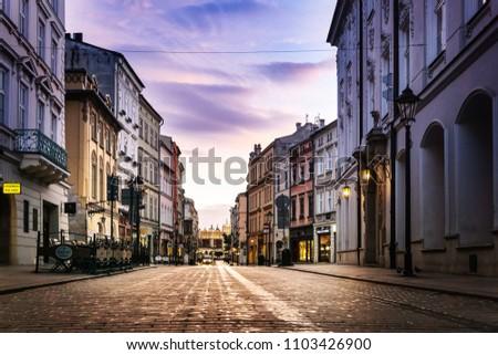 KRAKOW, POLAND - August 27, 2017: street view of downtown Krakow, Poland #1103426900