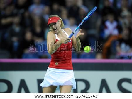 KRAKOW, POLAND - FEBRUARY, 7, 2015: Maria Sharapova during tennis cup Fed Cup Poland Russia
