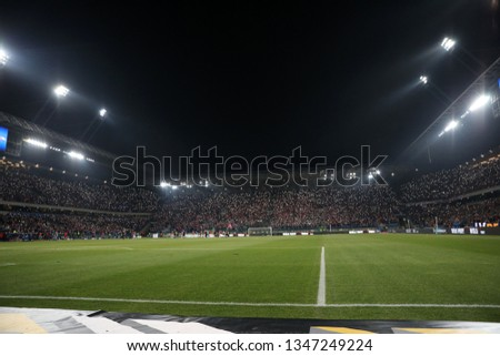 KRAKOW, POLAND - FEBRUARY 17, 2019: Polish Premier Football League Wisla Krakow - Cracovia Krakow o/p football fans Wisla #1347249224