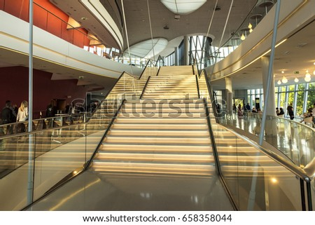 KRAKOW, POLAND - JUNE 09, 2017: The ICE Krakow Congress Centre in Poland is the business and cultural flagship of the city. It is one of the best concert and congress halls in Poland. #658358044