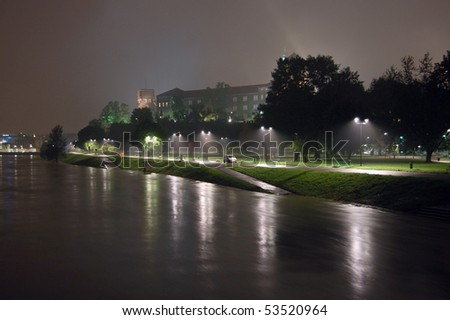 KRAKOW, POLAND - MAY 19: Poland under water. Floods in Krakow. Level of Wisla (Vistula) river has reached a record of 9.56m. Some areas of the city are islands. May 19, 2010 in Krakow, Poland
