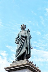 Krakow, Poland. Monument to Adam Mickiewicz. The monument designed by the sculptor Theodor Rieger (1841-1913) was erected on June 16, 1898