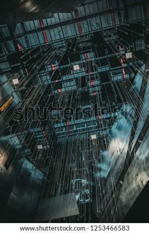 KRAKOW, POLAND - NOVEMBER 25, 2018: Krakow Technology Park. Modern hall interior design #1253466583
