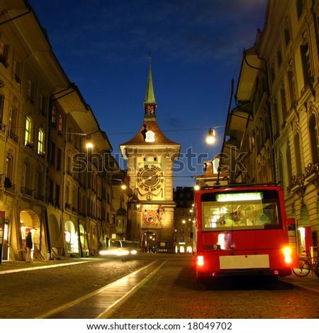 Kramgasse street and the Zytglogge tower at twilight 02, Bern, Switzerland