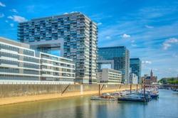 Kranhaus building complex on riverside of Rhein in Cologne, Germany
