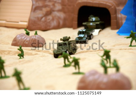 Krasnodar, RUSSIA - December 5, 2013: ground-based combat of infantry troops, models of fighting vehicles, installation, Krasnodar Territory, Russia December 5, 2013  #1125075149