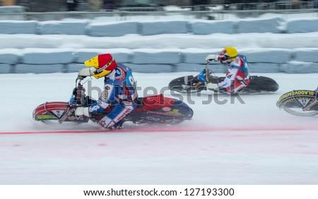 KRASNOGORSK, RUSSIA - CIRCA FEB 2013: FIM Ice Speedway Gladiators World Championship 2013, Circa Feb 2013 in Krasnogorsk, Russia.