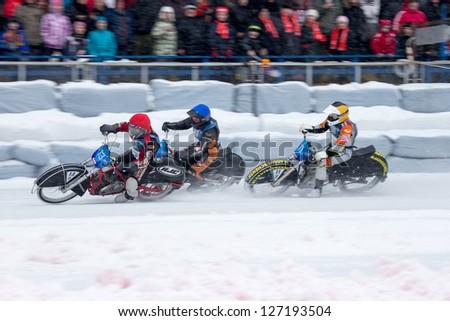 KRASNOGORSK, RUSSIA - CIRCA FEB 2013: FIM Ice Speedway Gladiators World Championship 2013, on Circa Feb 2013 in the Krasnogorsk, Russia.