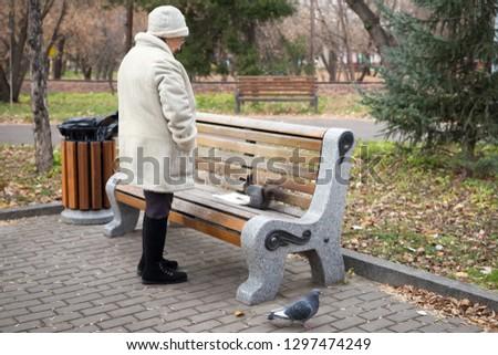 KRASNOYARSK, Krasnoyarsk Region / RF - October 30, 2018: Retired woman is feeding a squirrel and pigeons, standing near the bench in the Central Park of Krasnoyarsk city in autumn. #1297474249