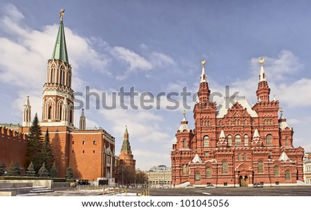 Kremlin and Historical museum on Red Square in Moscow in winter