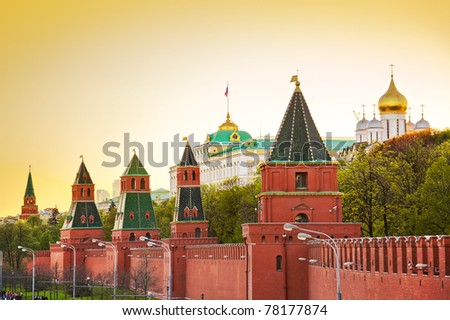 Kremlin in Moscow (Russia) at sunset