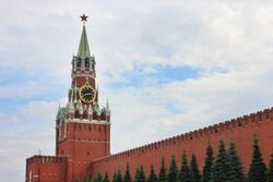 Kremlin tower scenic view on Red square, main square of russian capital - Moscow city. Kremlin building facade colorful summer day scene