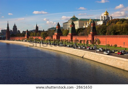 Kremlin wall and blue Moskva river, Moscow, Russia - stock photo