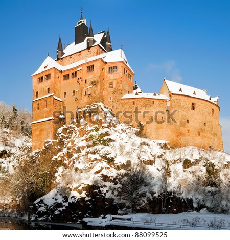 Kriebstein castle under snow; Saxony, German;