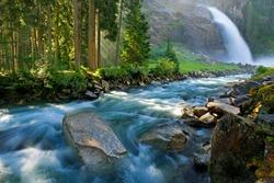 Krimmler (Krimml) waterfall. Highest fall in Austria (Tirol) - Alps beautiful mountain, Hohe Tauern national park