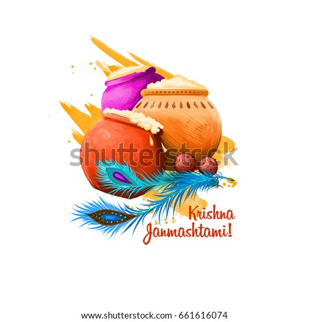 Krishna Janmashtami digital art illustration. Annual Hindu festival in India. Birth of Krishna holiday greeting card, poster, brochure, leaflet, cover, layout template. Graphic design clip art mock-up