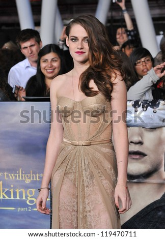 """Kristen Stewart at the world premiere of her movie """"The Twilight Saga: Breaking Dawn - Part 2"""" at the Nokia Theatre LA Live. November 12, 2012  Los Angeles, CA Picture: Paul Smith"""