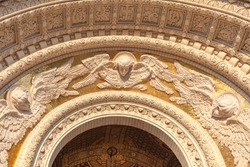 Kronstadt. Anchor Square. Naval Cathedral of St. Nicholas the Wonderworker. Entrance to the cathedral. Ornament on the facade