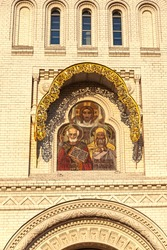 Kronstadt. Anchor Square. Naval Cathedral of St. Nicholas the Wonderworker. Entrance to the cathedral. Icon on the facade