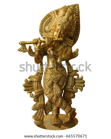Krsna is the supreme personality of God. Krishna is playing the flute. Indian sculpture isolated on white background. #665570671