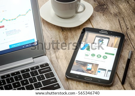 Krynica-Zdroj, Poland - January 04, 2017: Google AdWords Application install on Samsung Galaxy Note. Google Adwords is the most famous advertising system that allows to display sponsored links.