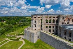 Krzyztopor Castle Poland. Aerial view of old, ruined castle in Ujazd, Świetokrzyskie Voivodeship, Poland.