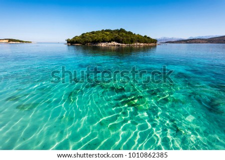 Ksamil Beach - Idyllic little island surrounded by incredible turquoise lonian sea, Ksamil, Albania