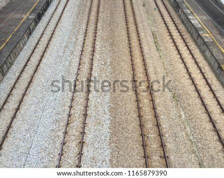 KTM komuter train railway road at Malaysia. Serdang Station. Stok fotoğraf ©