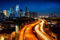 Kuala lumper skyline at night, Malaysia