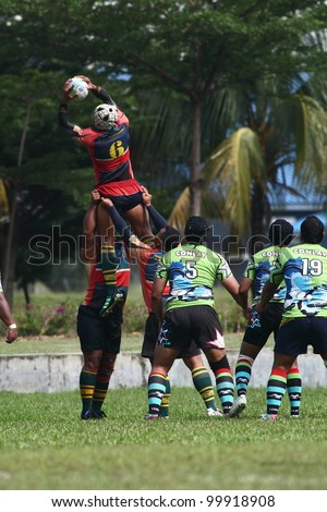 KUALA LUMPUR - APRIL 8: ATM RAMD players manage to get the ball from a line-out throw a MRU Super League match againts Keris Conlay on April 8, 2012 in Kuala Lumpur, Malaysia. Conlay won 29-12