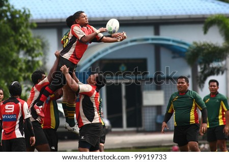 KUALA LUMPUR-APRIL 1: Players jostle for the ball from a line-out throw  a Malaysian Rugby Union Super League match between ASAS and ATM RAMD on April 1, 2012 in Kuala Lumpur, Malaysia. ASAS won 27-25