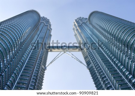 KUALA LUMPUR-AUG-19: View of The Petronas Twin Towers on Aug 19, 2011 in Kuala Lumpur, Malaysia. It is famous landmark of Malaysia. Petronas are the tallest twin buildings in the world (451.9 m).