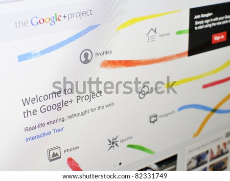 KUALA LUMPUR - AUGUST 7 : Homepage of Google+ in August 7, 2011 in Kuala Lumpur, Malaysia. Google recently launched Google+ (Google plus), newest social media network to rival facebook.com. - stock photo