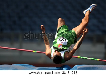 KUALA LUMPUR - AUGUST 16: Myanmar's amputee athlete fails in his attempt in the high jump event of the fifth ASEAN Para Games on August 16, 2009 in Kuala Lumpur.