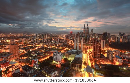 Kuala Lumpur City Centre during beginning of Sunrise